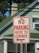 No Parking Here to Corner <---