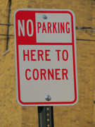 No Parking Here to Corner